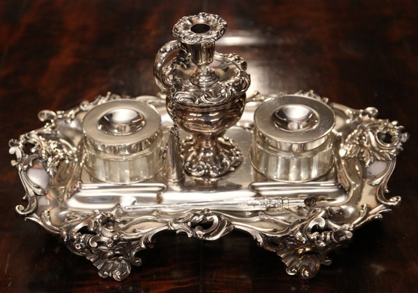 """SHEFFIELD SILVER PLATE FOOTED INKWELL, H 7"""""""