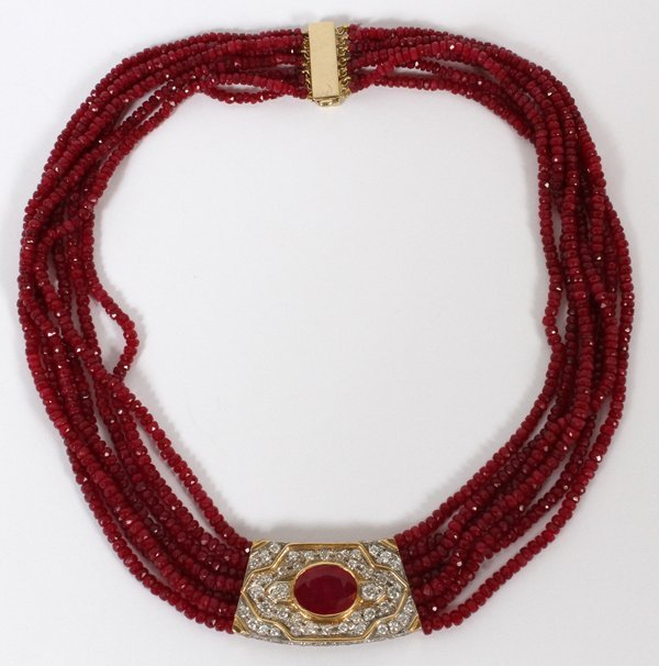 8.00CT RUBY, 5.40CT DIAMOND NECKLACE RUBY BEADS