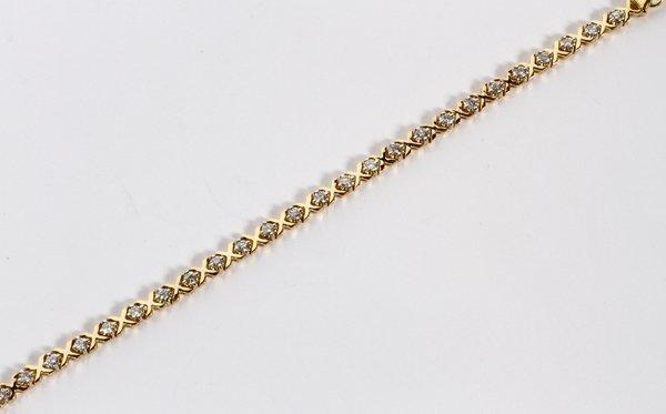 2.40CT DIAMOND  X BRACELET, 14KT YELLOW GOLD