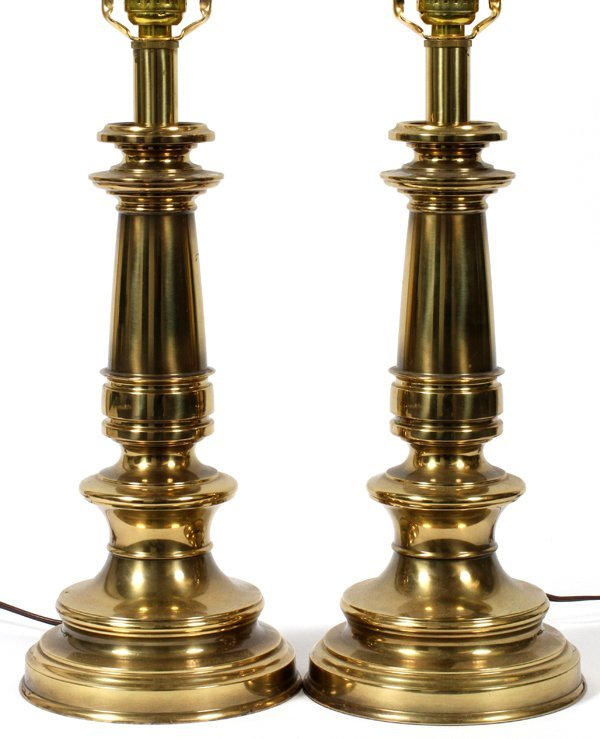 STIFFEL BRASS TABLE LAMPS, PAIR, H 24