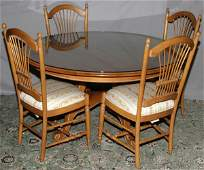 ROUND GLASS TOP DINING TABLE AND FOUR CHAIRS