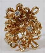 14 KT YELLOW GOLD  DIAMOND RING FLORAL DESIGN