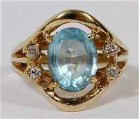 14 KT YELLOW GOLD AQUAMARINE  DIAMOND RING