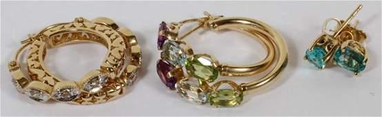 DIAMOND, SEMI-PRECIOUS STONE & GARNET EARRINGS