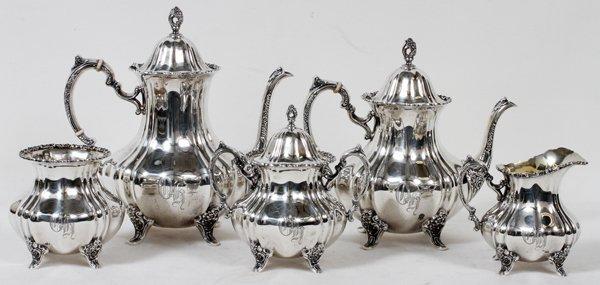 POOLE 'LANCASTER ROSE' STERLING TEA COFFEE SET