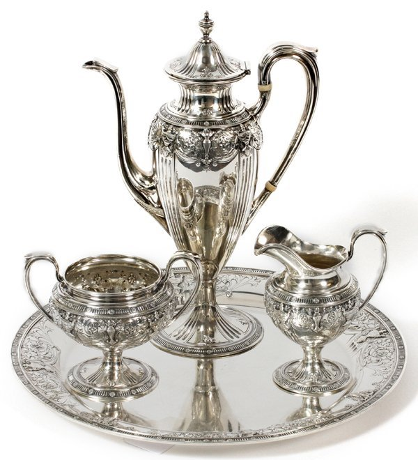 DOMINICK & HAFF STERLING COFFEE SET WITH TRAY
