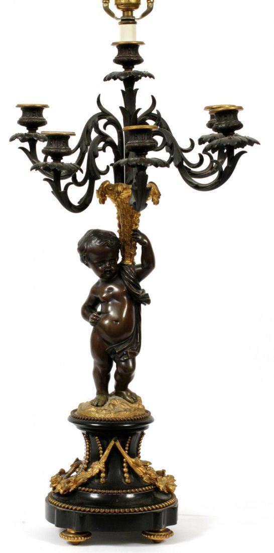 FRENCH BRONZE FIGURAL CANDELABRUM LAMP, 19TH C.