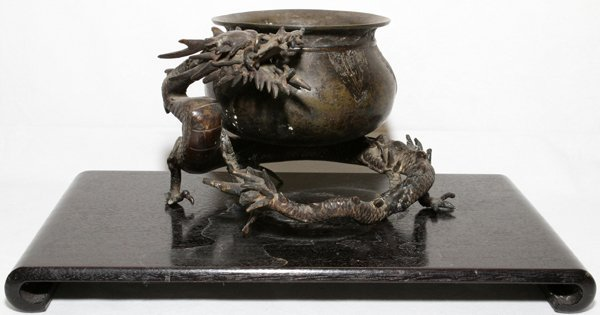 """JAPANESE BRONZE VESSEL WITH DRAGON SUPPORT, 6""""H"""