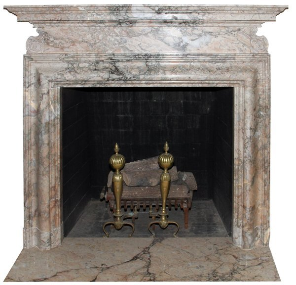 """CARVED MARBLE FIREPLACE MANTEL & SURROUND, 61""""H"""