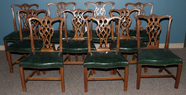 CHINESE CHIPPENDALE STYLE MAHOG DINING CHAIRS