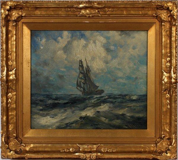 "ROBERT HOPKIN, OIL ON CANVAS 12"" X 14"" SEASCAPE"