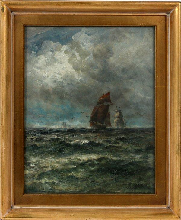 ROBERT HOPKIN OIL MAHOGANY PANEL, SHIPS AT SEA