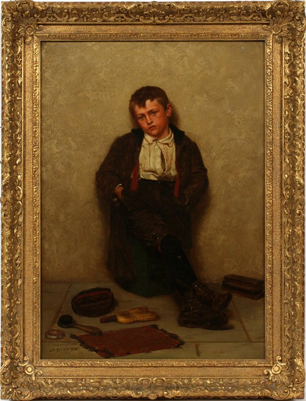 JOHN GEORGE BROWN OIL ON CANVAS, SHOESHINE BOY