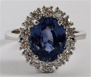 4.66CT SAPPHIRE & 1.00CT DIAMOND RING, GIA