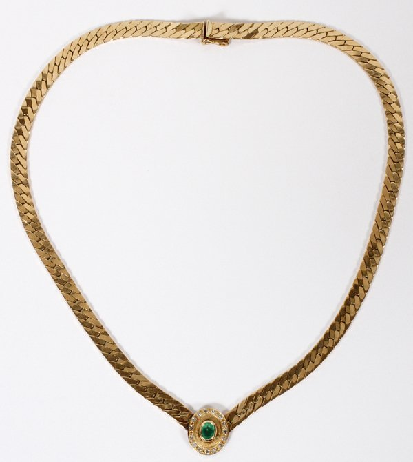 14 KT. YELLOW GOLD EMERALD AND DIAMOND NECKLACE