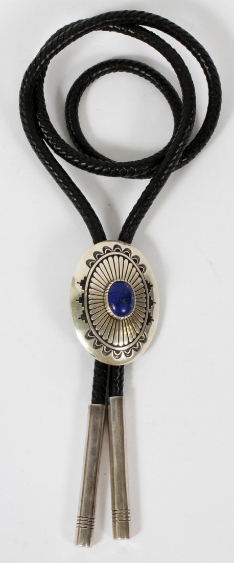 SILVER AND LAPIS LAZULI AND LEATHER BOLO TIE