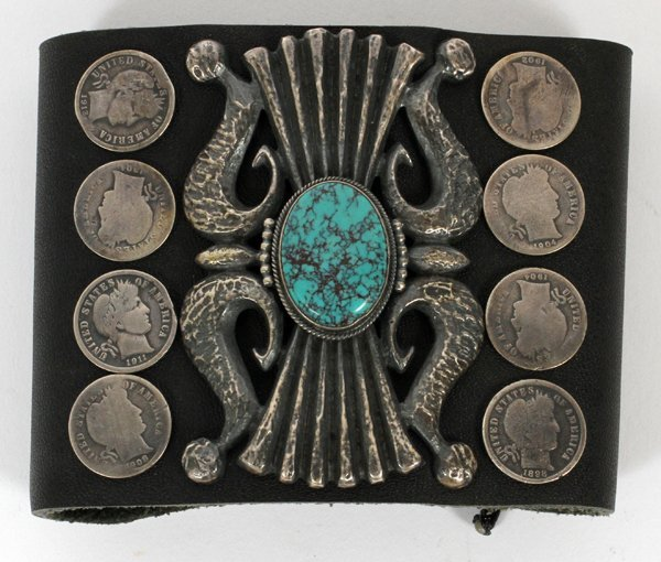 SILVER, TURQUOISE AND LEATHER BOLO TIE CONCHO