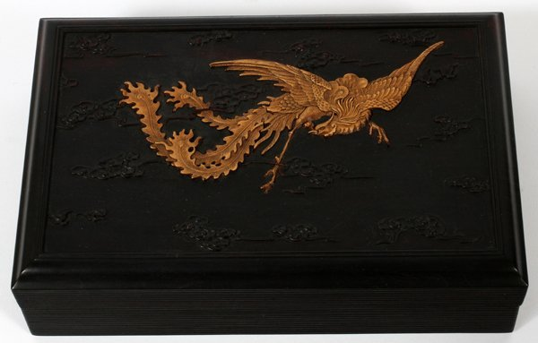 "ZITAN CARVED CHINESE COVERED BOX, H 3"", L 11"""