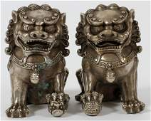 CHINESE SILVERED BRONZE FOO LIONS PAIR H 5