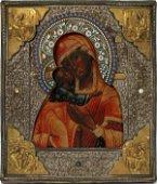 RUSSIAN SILVER, ENAMEL OKLAD ICON MOTHER OF GOD