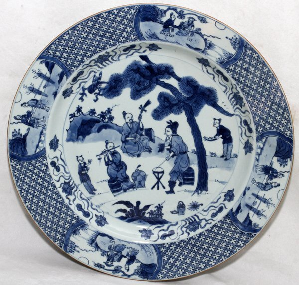 CHINESE BLUE & WHITE PORCELAIN CHARGER, 19TH C.,