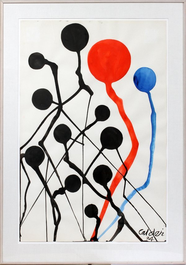 ALEXANDER CALDER GOUACHE/WATERCOLOR EMPIRE STATE