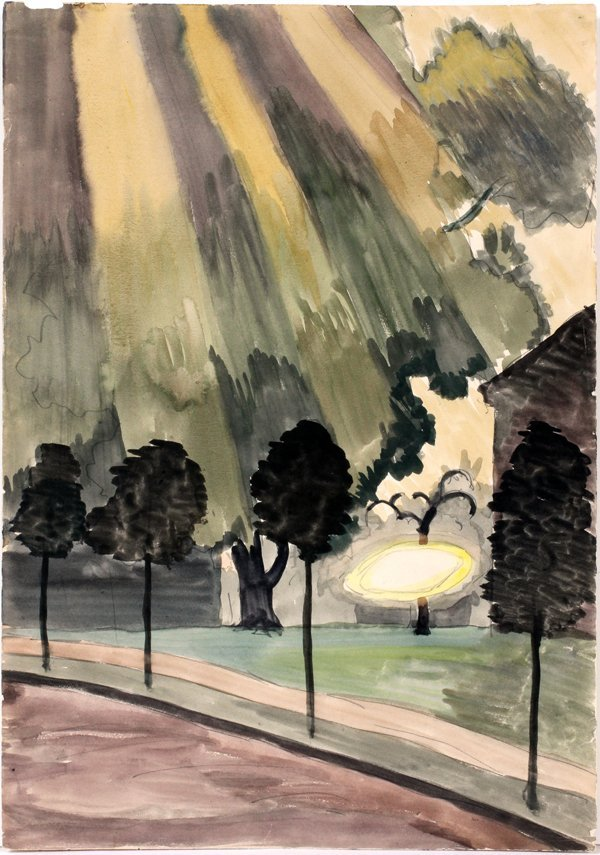 CHARLES BURCHFIELD WATERCOLOR & PENCIL 1916
