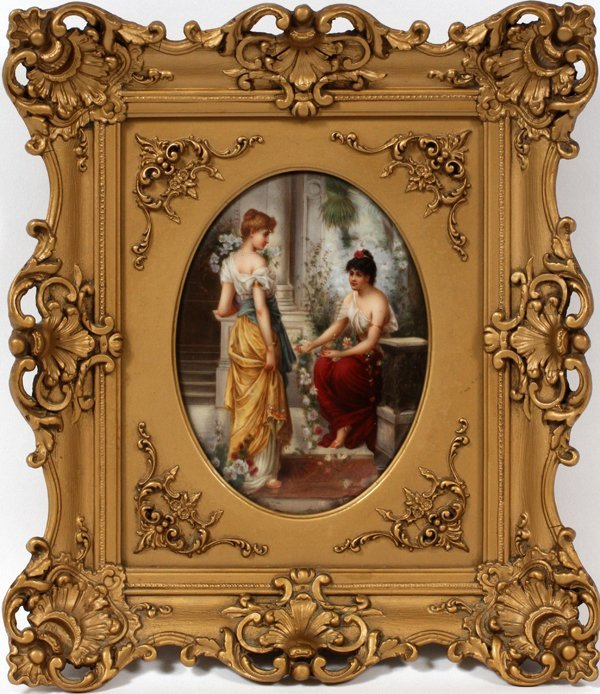 KPM PORCELAIN PLAQUE TWO LADIES IN A GARDEN