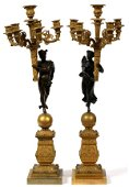 """CLASSICAL STYLE BRONZE FIGURAL CANDELABRA H 25"""""""