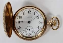 WALTHAM LADY'S 14KT GOLD POCKET WATCH HUNT CASE