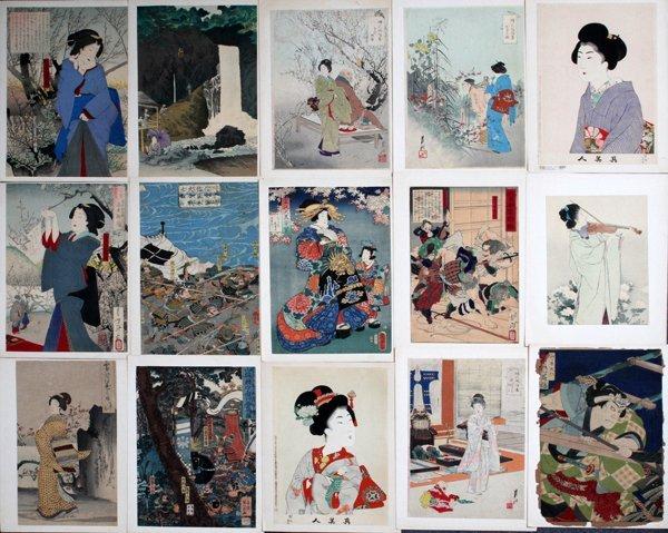 JAPANESE WOODBLOCK PRINTS, 18 PIECES
