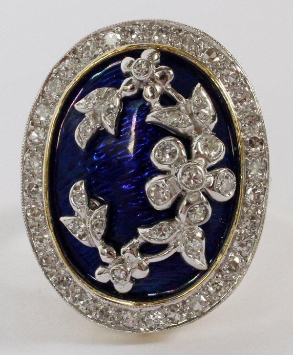 14 KT GOLD PLATINUM DIAMOND & ENAMEL RING 6 3/4
