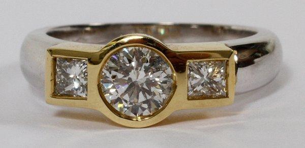 18KT GOLD, 0.68CT & 0.90CT DIAMOND RING, 7