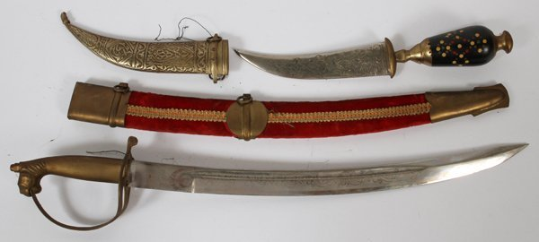 EAST INDIAN SWORD AND JORDANIAN CURVED DAGGER