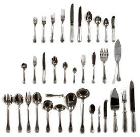 CHRISTOFLE 'PERLES' DINNER SET, 345 PCS, FOR 17