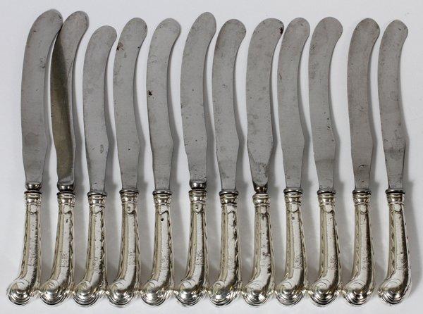 GEORGE II STERLING HANDLE KNIVES, R. PARGETER