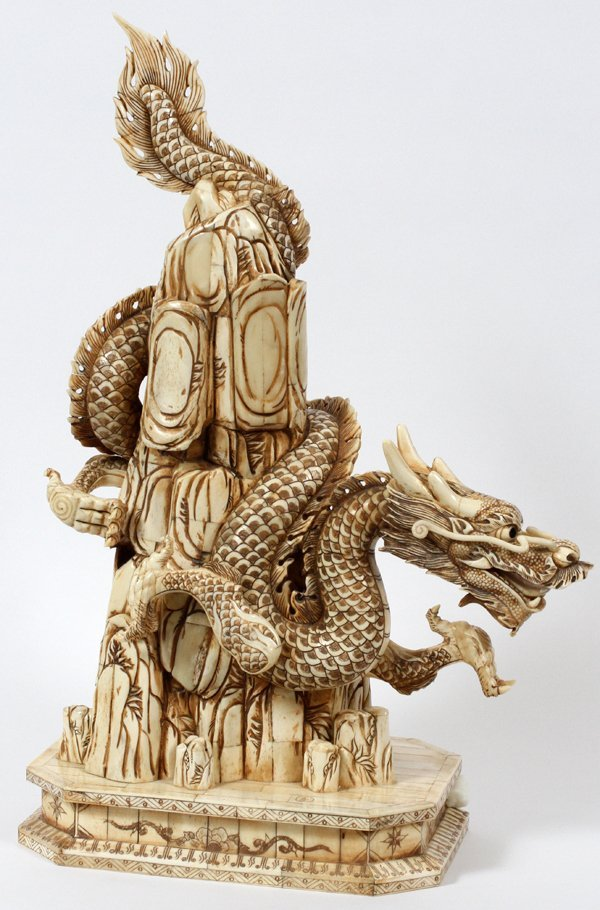 """CHINESE CARVED BONE FIGURE OF A DRAGON, H 24 """""""