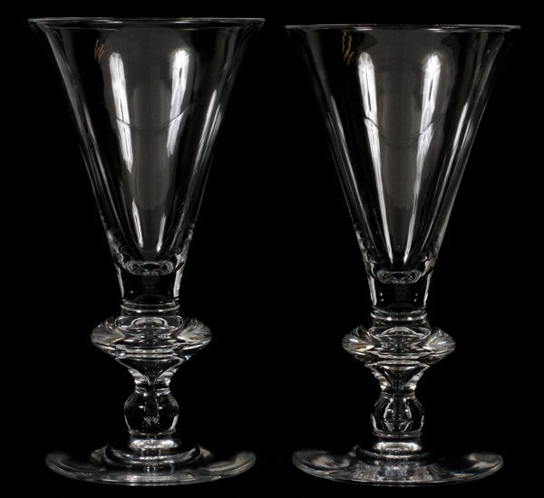 """STEUBEN GLASS WATER GOBLETS 7.5""""H, #7737, 12 CT"""
