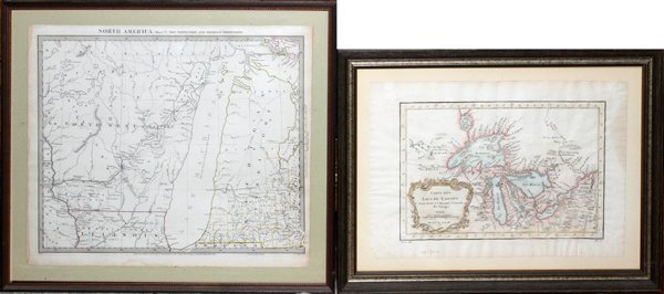 "MAPS, 2, 19TH C., 12"" X 16"", CANADA & MICHIGAN"