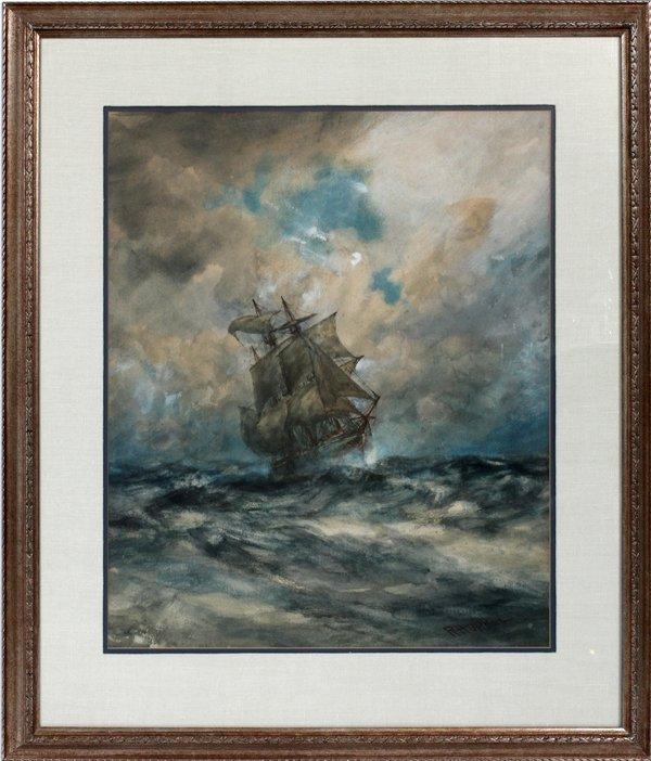 "ROBERT HOPKIN WATERCOLOR, 24""X20"", SAILING SHIP"