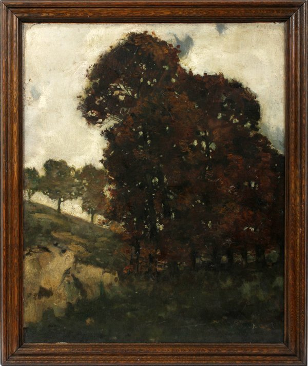 MYRON BARLOW OIL/CANVAS/BOARD VALLEY WITH TREES