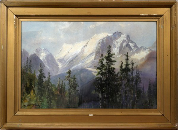 F. MARLETT BELL-SMITH WATERCOLOR MOUNTAINSCAPE