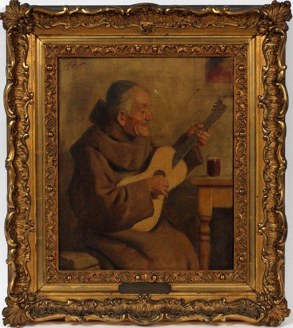 "A. GOBY OIL ""LE GUITARISTE"", ITALIAN CIRCA 1890"