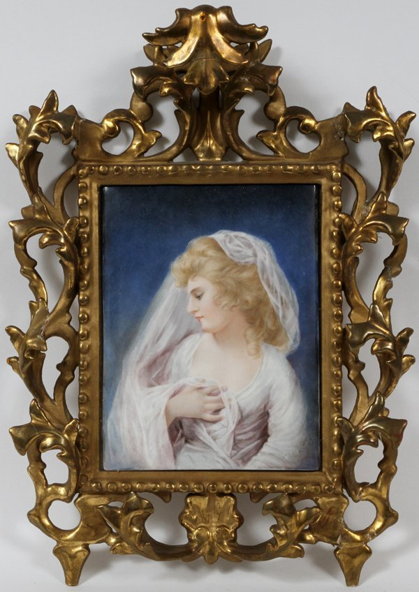 E. M JACOBS PAINTING ON PORCELAIN A YOUNG WOMAN