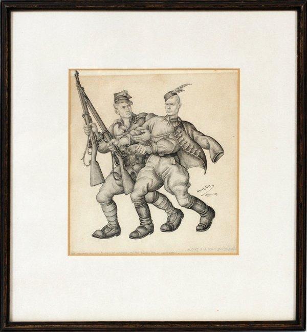 ARTHUR SZYK PEN/INK DRAWING GLOIRE FOLIE BRAVES