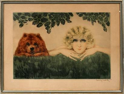 """LOUIS ICART, DRYPOINT AND ETCHING, 17"""" X 25"""""""