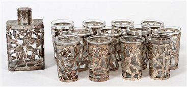 STERLING OVERLAY CRYSTAL LIQUOR GLASSES, FLASK