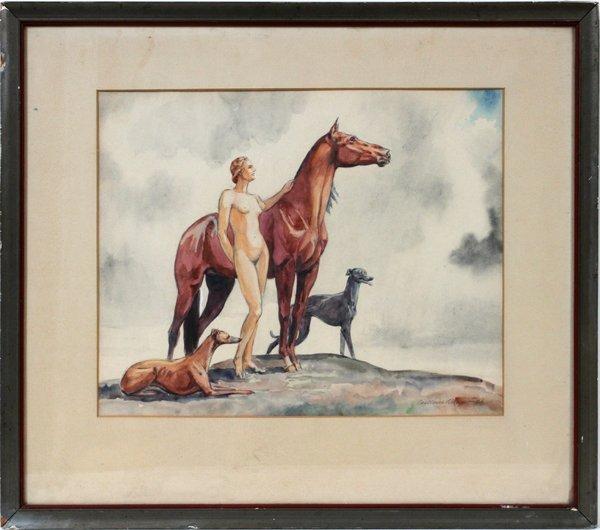 """C. SCHAYER, WATERCOLOR, 1936, 14"""" X 17"""""""