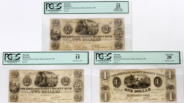 SIGNED KIRTLAND SAFETY SOCIETY BANK NOTES $1/$2