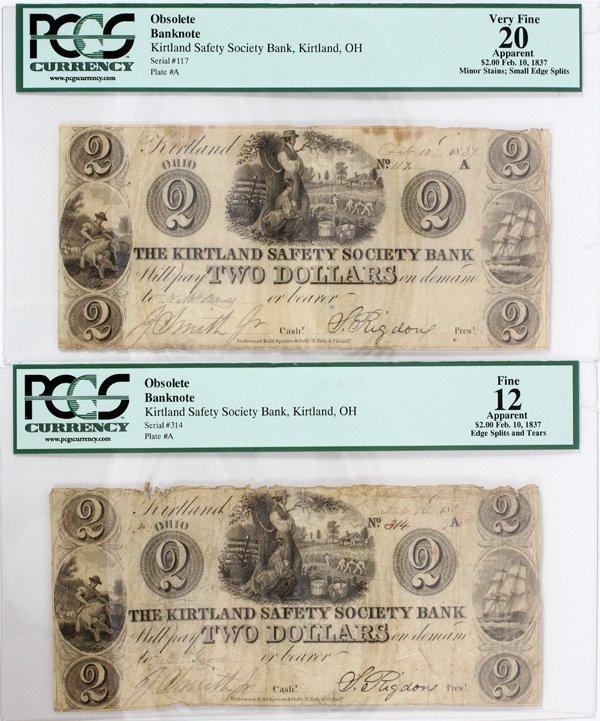 KIRTLAND SAFETY SOCIETY BANK TWO DOLLAR NOTES
